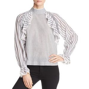 [Marled] NEW Striped Ruffled Long Sleeve Lace Top